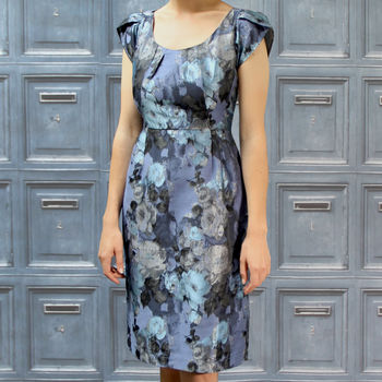 Shift Dress In Our Sumptuous New Silvery Blue Jacquard