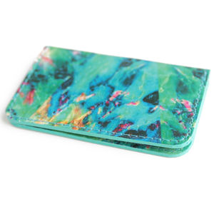 'Neon Marble' Leather Oyster Card Holder