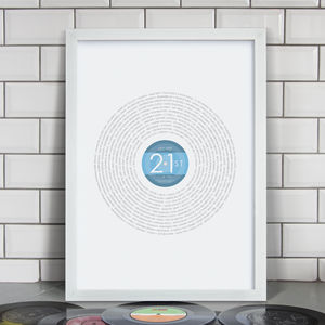 Personalised 21st Birthday Record Print