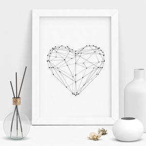 Love Heart Illustrated Polygon Art Print - winter sale