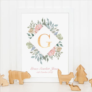 Personalised Floral Wreath Foil Initial Nursery Print