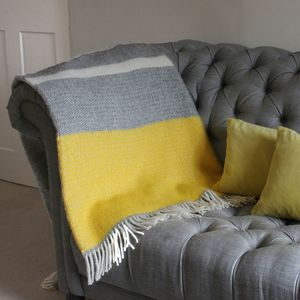Grey And Mustard Wool Knit Throw - bedding & accessories