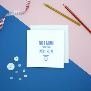 Number One Mum From Number One Son Birthday Card