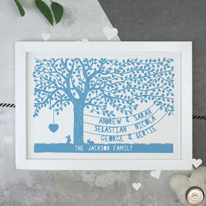 Personalised Fathers Day Our Family Tree Print - mixed media & collage