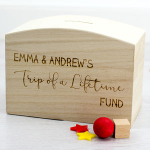 Trip Of A Lifetime Wooden Money Box - money boxes