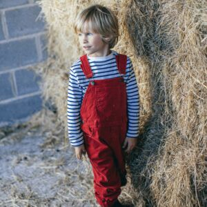 Brick Red Winter Corduroy Dungarees