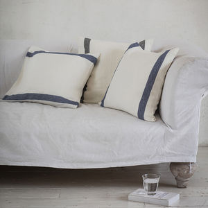 Navy Stripe Arles Linen Cushion - cushions