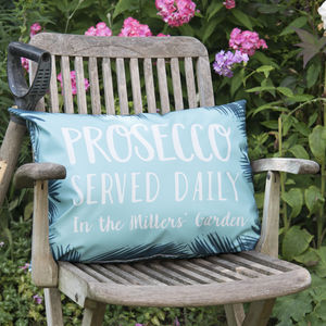 Personalised 'Prosecco Served Daily' Outdoor Cushion - prosecco-lover