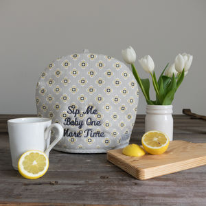 Personalised Garden Ochre Grey Tea Cosy - kitchen
