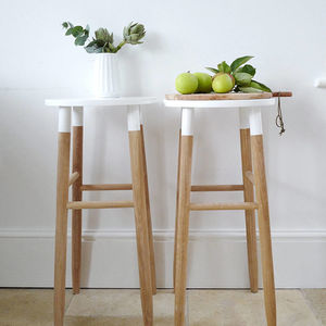 Natural And White Wooden Bar Stool - furniture