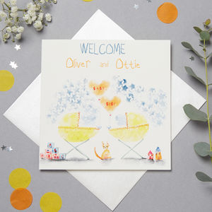 Personalised New Baby Twins Card