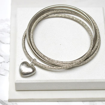 Statement Heart Bangle Set