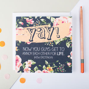 'Yay!' Wedding Or Engagement Card - wedding cards & wrap