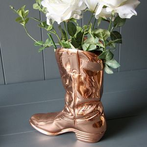 Copper Cowboy Boot Planter - art & decorations