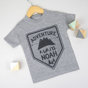 Personalised Adventure Awaits T Shirt - new baby gifts