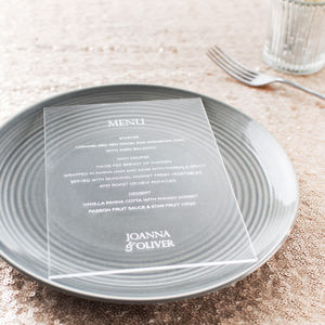 Personalised Clear Acrylic Menu Cards - what's new