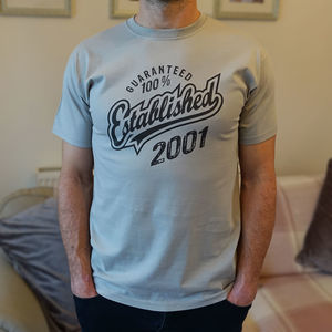 'Established 2001' 18th Birthday Gift T Shirt - 18th birthday gifts