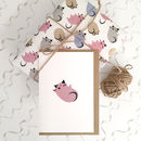 Pink kitten new baby card