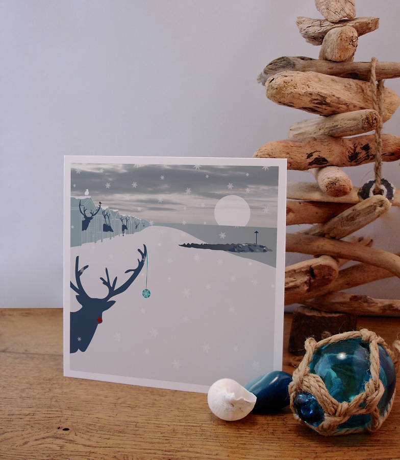 beach inspired christmas cards reindeer in beach huts - Beach Themed Christmas Cards