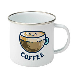 Latte Coffee Cute Silver Rimmed Enamel Mug