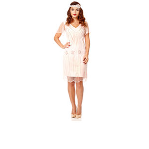 Art Deco Flare Sleeves Embellished Flapper Dress - dresses