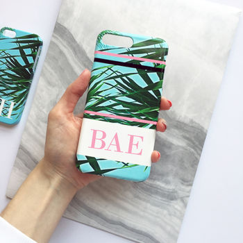 Palm Leaf Print And Striped Monogram Phone Case