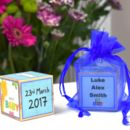 Personalised New Baby Boy Wooden Block