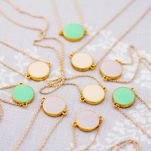 Enamel Coin Thank You Bridesmaid Necklace - jewellery
