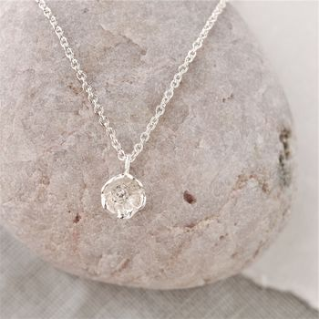Sterling Silver Diamond Flower Necklace