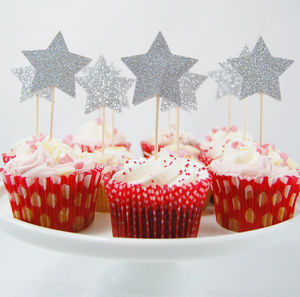Set Of 12 Glitter Star Cupcake Toppers - cake decoration