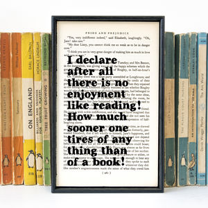 Pride And Prejudice 'No Enjoyment Like Reading' Print - typography