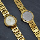 Gold Engraved Ladies Wrist Watch With Crystals