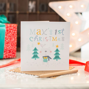 Personalised Baby's First Christmas Bear Card
