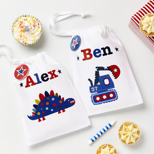 Boys Personalised Party Bags - storage
