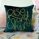 Rise And Shine Embroidered Velvet Cushion