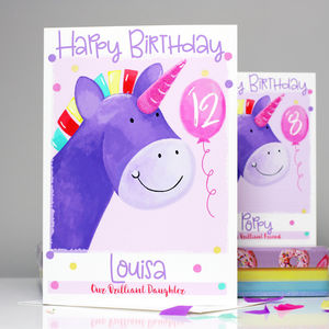 Personalised Unicorn Relation Birthday Card - children's birthday cards