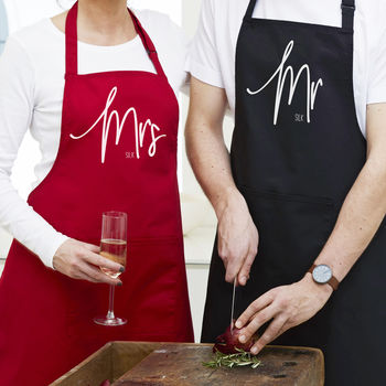 Personalised 'Mr Or Mrs' Apron Sets