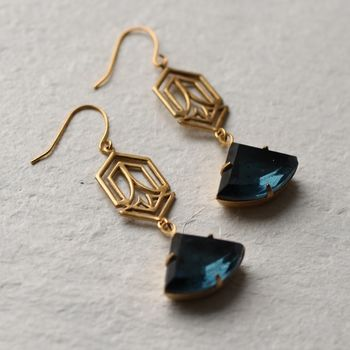 Art Deco Navy Blue Earrings With Connector