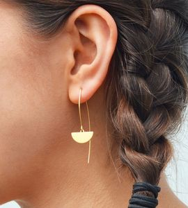 Brass Semi Circle Threader Earrings