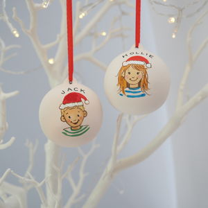 Child's Personalised Christmas Bauble Illustration