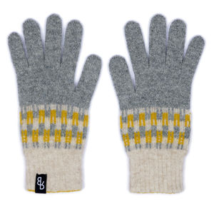 Women's Knitted Lambswool Gloves | Yellow