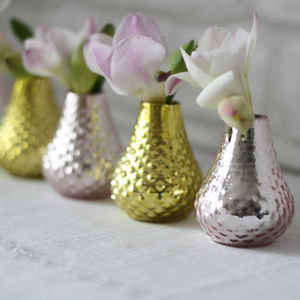 Gold / Pink Bud Vases Set Of Five - table decorations