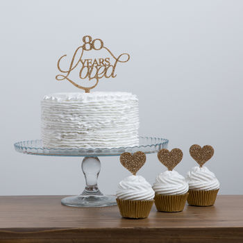 80 Years Loved Birthday Cake Topper Set