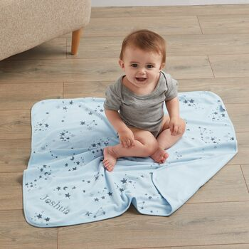 Personalised Blue Star Print Velour Blanket