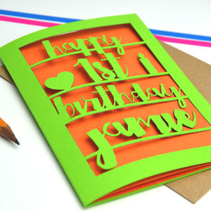 Personalised Papercut 1st Birthday Card
