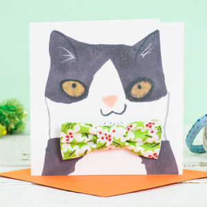 Cat Bowtie Christmas Card - pets christmas clothing