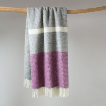 Grey And Pink Wool Throw