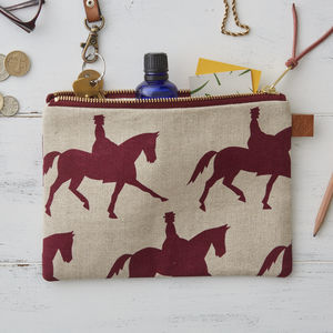 Dressage Horse Linen Zipped Purse