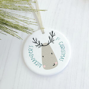Baby's 1st Christmas Reindeer Bauble