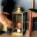 Moroccan Gold Lantern Candle Holder Quatrefoil